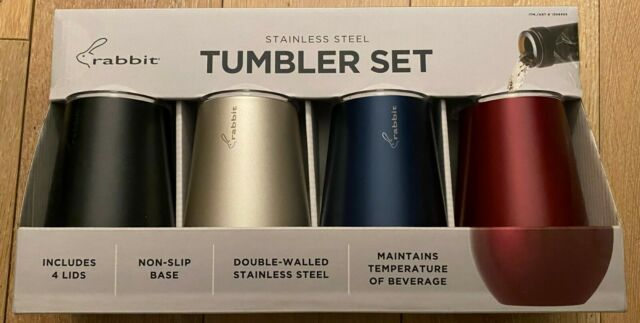 Rabbit Double Wall Stainless Steel Wine Tumbler Set 4-pack