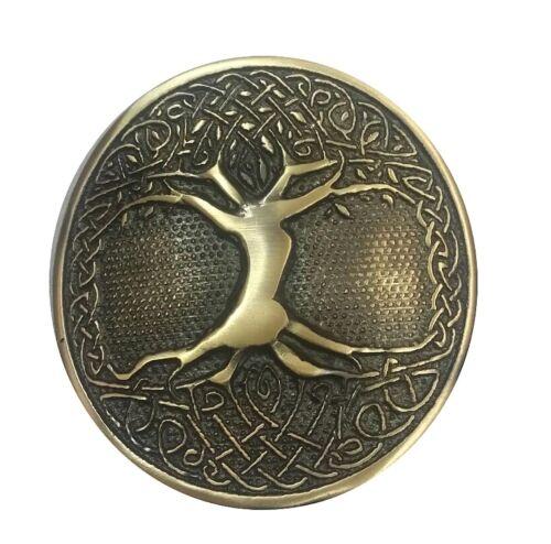 Para Hombre Escocés Kilt Hebilla De Cinturón Celta Árbol de la vida circular acabado antiguo