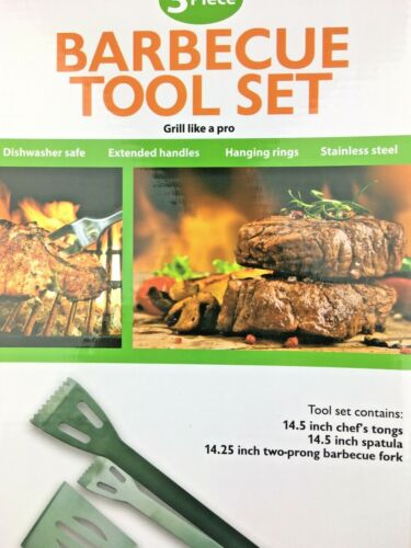 Stainless Steel 3 Piece Barbecue BBQ Tool Set Top Quality