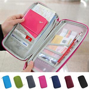 Unisex Portable Zipper Travel Wallet Organizer For Credit ID Card Passport Bags