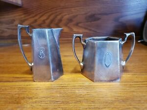 Reed & Barton Silver Plated Hexagon Pitcher And Cup W Monogram 195