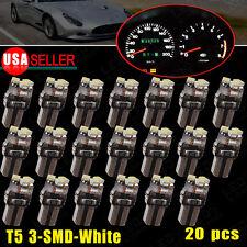 20x T5 3-SMD White Instrument Panel Cluster Dash LED Bulb Light Lamp 74 70 37 17
