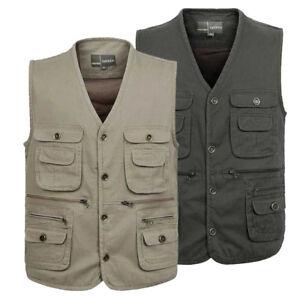 Mens-Fishing-Vest-Warm-safari-waistcoat-hunting-cotton-Dada-vest-jacket