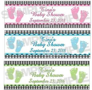 Personalized Blue Pink Green SWEET FEET BABY SHOWER water bottle ...
