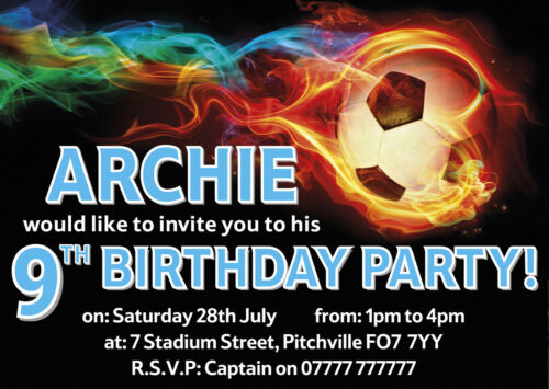 Personalised Party Invitations or Thank You Notes x10 FOOTBALL