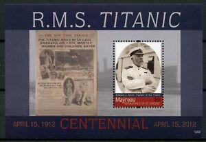 Copieux Mayreau Grenadines St Vincent 2012 Neuf Sans Charnière Titanic Cent 1 V S/s Bateaux Navires Timbres-afficher Le Titre D'origine éGouttage