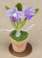 1:12 Scale Mauve Orchid In A Pot Doll Miniature House Flower Garden Accessory 53
