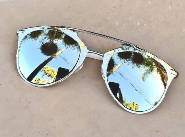 Rare Large Mirror So Reflected Brow Bar Metal Gold Platinum HOT Sunglasses 10096