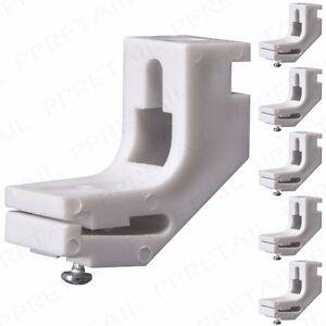 5x-Fuerte-Plastico-Blanco-Cortina-Pista-soportes-Harrison-Swish-carril-Whiteline
