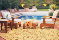 Caranas Grade-A Teak Wood 4 pc Outdoor Garden Patio Sofa Lounge Chair Set New