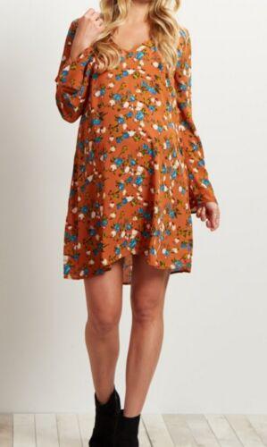 BN#2 PINK BLUSH MATERNITY Rust Floral Printed V-Neck Chiffon Dress MEDIUM NEW