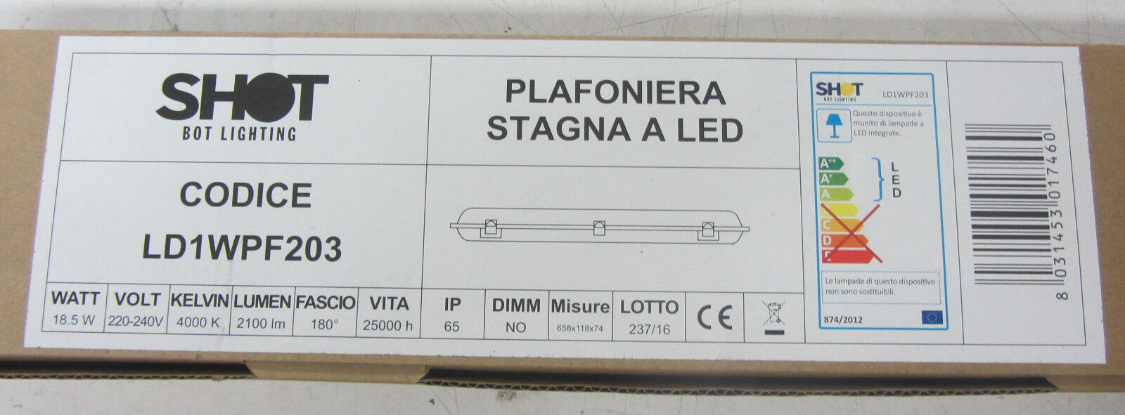 SHOT BOT LIGHTING LIGHTING LIGHTING PLAFONIERA STRAGNA A LED IP65 INTERNO ESTERNO 18.5W LUCI INCLU 1b49d2