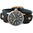 18mm 20mm Hadley-Roma Wide Black Leather Riveted Military Cuff Watch Band Strap