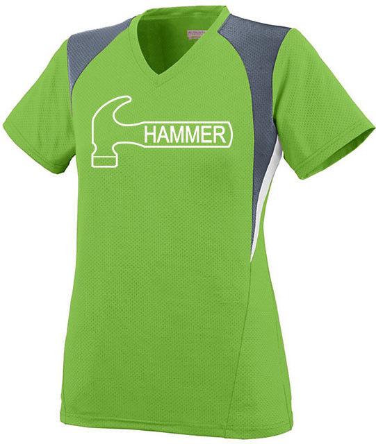 Hammer Women's Ambition Performance Crew Bowling Jersey Shirt Lime Green