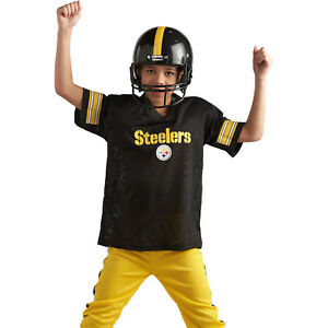 buy online 4124a e93d1 Details about Kids Pittsburgh Steelers NFL Football Uniform Jersey Helmet  Youth Costume Set S