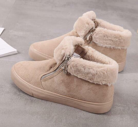 Womens Girls Canvas Faux Fur Fleece Lined Ankle Snow Boots Warm shoes Slip On G3