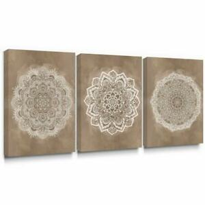 Mandala Canvas Wall Art Brown Boho Picture for Living Room Bedroom Decor 12x16x3