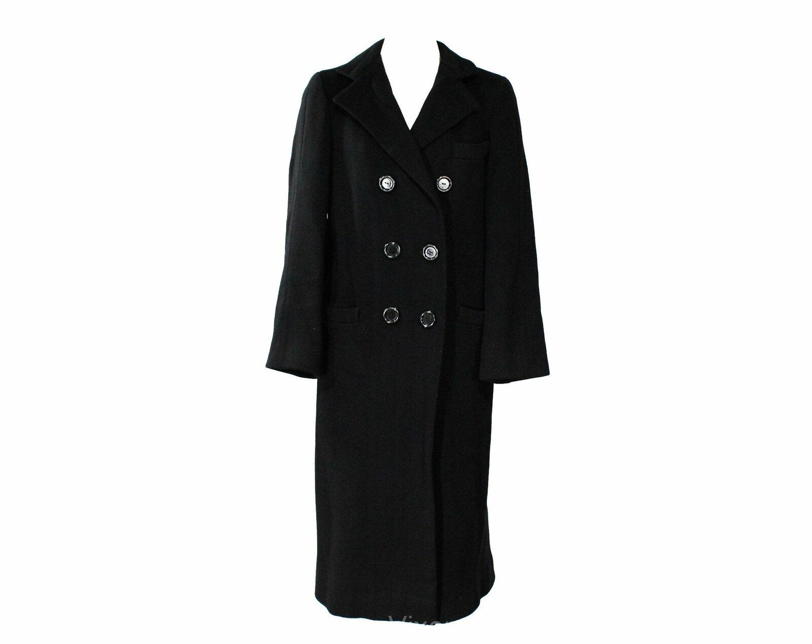 Size 10 Black Winter Coat - Elegant Designer 80s … - image 1