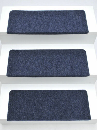 65x24x4 cm 15er Set Stufenmatten Treppenmatten ANDES blau RECHTECKIG ca