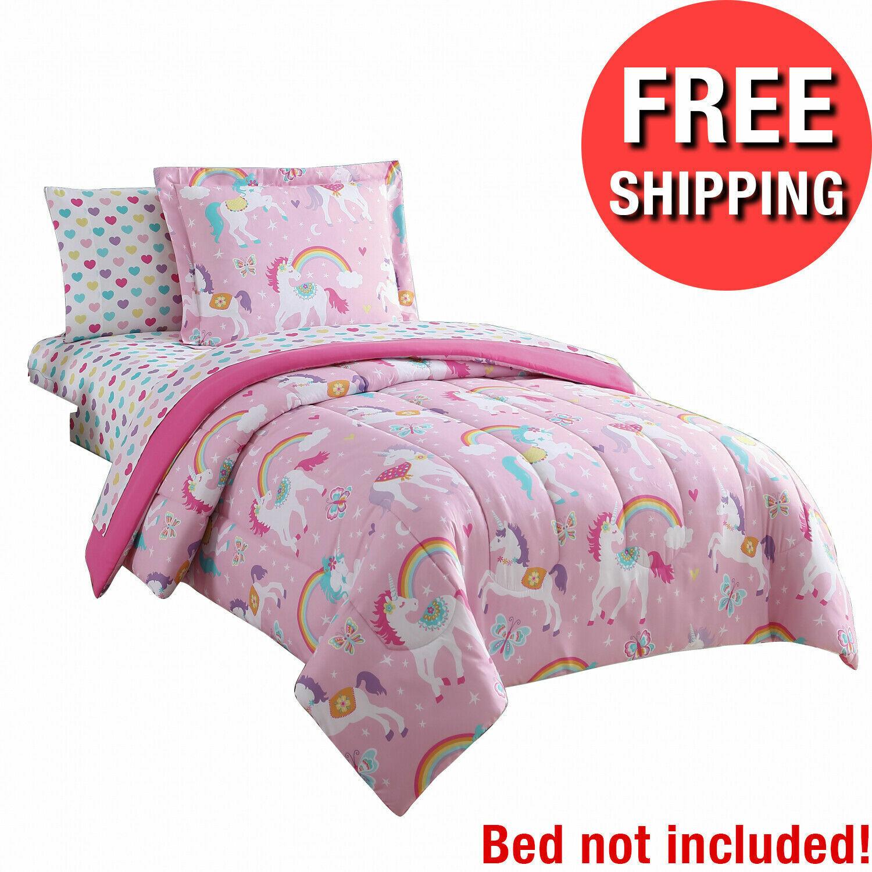 Unicorn Comforter with 2 Pillow Shams, Twin Unicorn Comforter Set Twin Pink with Rainbows 100/% Microfiber Hypoallergenic Girls Cute 68x86 Unicorns Girls Duvet Iinsert Cute All-Season Bed