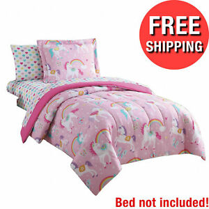 Twin-XL Kids Bedding Set Sheets Girls Comforter Rainbow Unicorn 7 piece Pink New