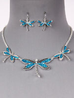 Dragonfly Blue Silver Tone Women Fashion Jewelry Necklace Earring Set