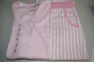 Victoria's Lurex Striped Pink Pajama New S Secret White Silver Henley Dreamer 1TdwZqBHn
