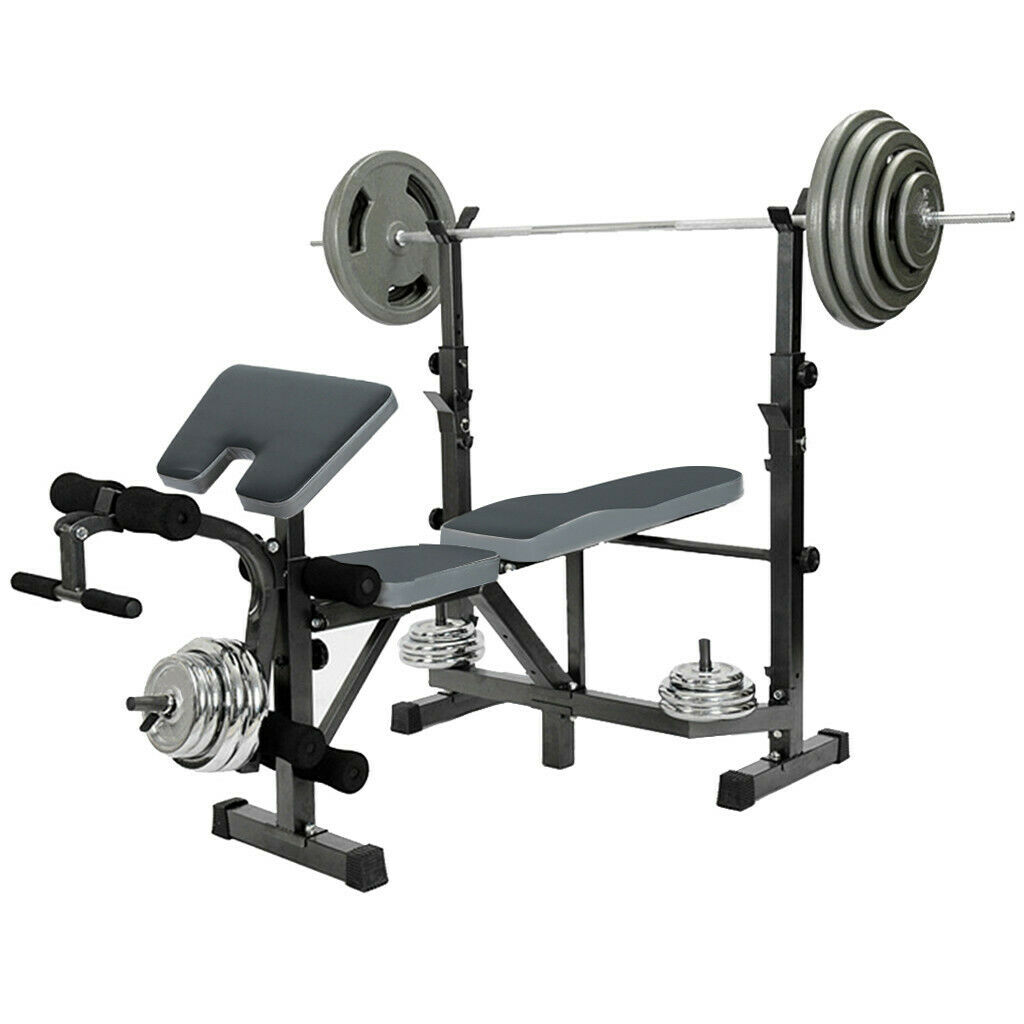 Weight Bench Set Adjustable Home Gym Press Lifting Barbell E