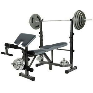 Adjustable-Olympic-Workout-Weight-Lifting-Bench-w-Rack-Incline-Decline-Flat-Gym