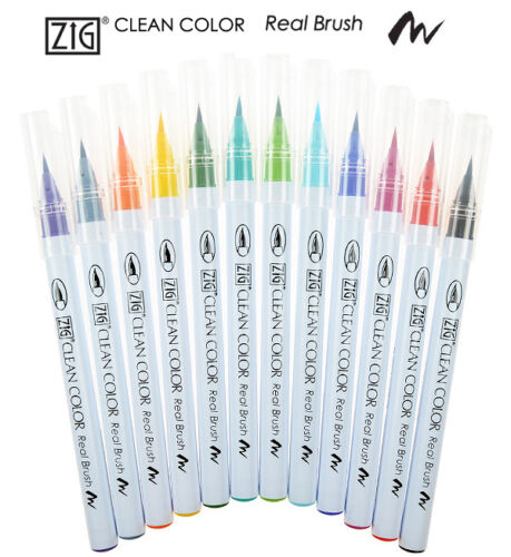 ZIG Kuretake Clean Colour Real Brush Pen 050-055 Yellow range