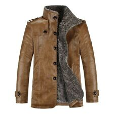 Mens PU-Leather Faux fur lined Jacket