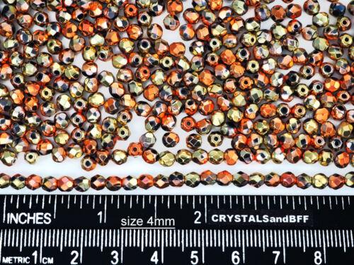 600 Preciosa Czech Glass Fire Polished Round Beads 4mm Jt California Golden Rush