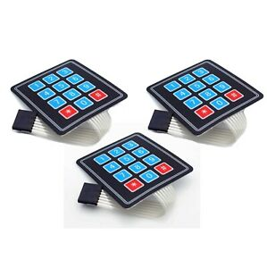3-PCS-4x3-Matrix-Array-12-Key-Membrane-Switch-Keypad-Arduino-AVR-PI-C-USA-SHIP