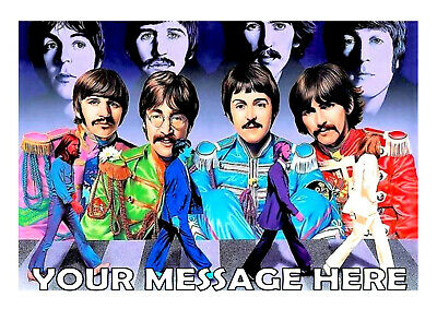 Super The Beatles No 3 Birthday Cake Topper A4 Edible Iced Icing Funny Birthday Cards Online Alyptdamsfinfo