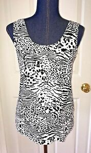 chicos-womens-tank-top-black-white-animal-print-stretch-size-1-blouse-slinky