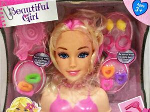 Doll Head Fashion Glamour Hair Styling Dolls Play Set Kids