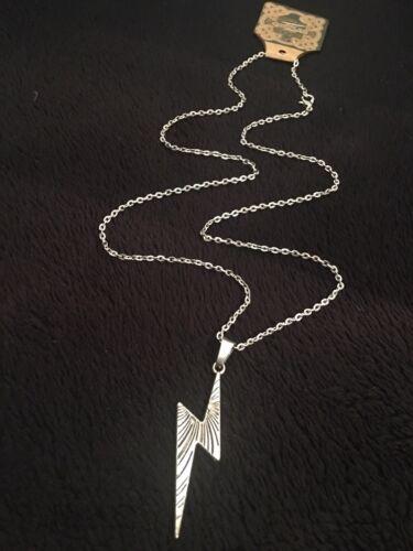 "Lightning Bolt Necklace 24/"" Chain Silver Harry Potter Inspired Thunder Emo *UK*"