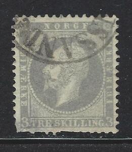 VEGAS-1856-57-Norway-Sc-3-Perf-13-Used-Fine-Lower-Left-Flaw-DG81
