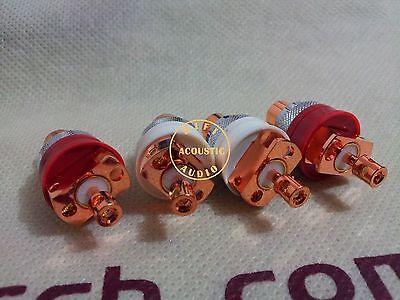 4Pcs Hi-End Red Copper Non Solder RCA Socket Connector For CD Amplifier