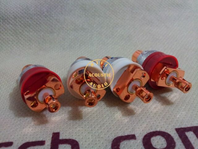 4Pcs Hi-End Red Copper Non Solder RCA Socket Connector For CD Amplifier