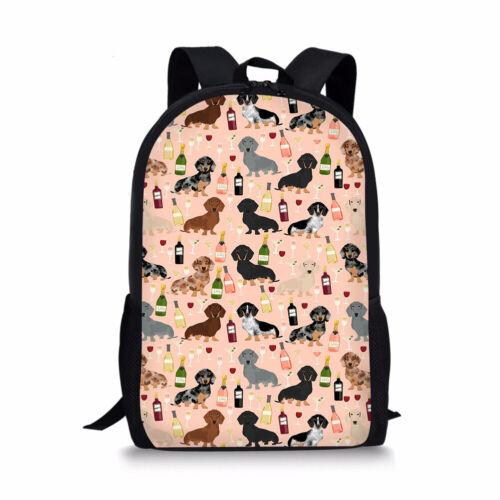 Dachshund Dog Womens Backpack Travel Rucksack Girls School Men Lunch Pencil Bag