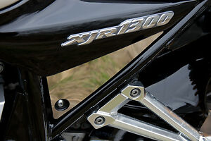 YAMAHA XJR 1300 LOGO BLACK POLISH STAINLESS STEEL SIDE PANEL COVERS 2002-06