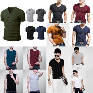 3e67af49 Fashion Men's Shirt Slim Fit Short Sleeve Muscle Basic Tee Casual ...