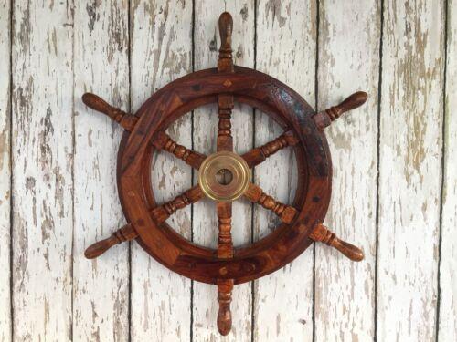 "Brass Ship Wheel ~ Nautical Maritime Wall Decor ~ Pirate Captain 18/"" Wood"