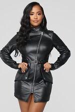 4b5ad47c9e28 item 4 Women Long Sleeve Zipper Black Faux Leather Casual Club Mini Dress  with Belt -Women Long Sleeve Zipper Black Faux Leather Casual Club Mini  Dress with ...