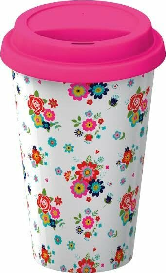 Creative Tops DITSY FLORAL TRAVEL MUG - Pink Flowers ECO CUP Double Walled