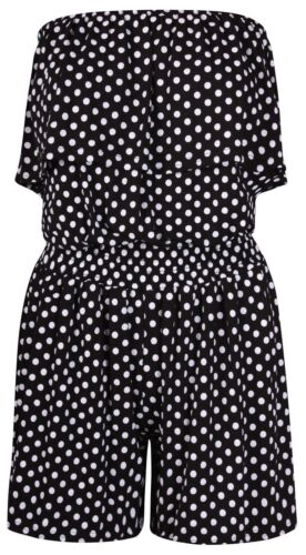 Women's Ladies Polka Dot Frill Bandeau Short Playsuit ladies playsuit Size 8-22