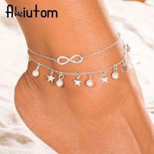 "Anklets Jewelry & Watches Lovely Fußkette Fußkettchen Kette ""infinity & Stars"" In Silber Armkette-modeschmuck Neu Rich And Magnificent"