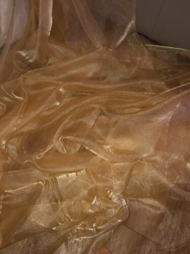 """1 MTR GOLD ORGANZA VOILE WEDDING,CURTAIN,DECORATION,DRESS FABRIC 58"""" WIDE"""