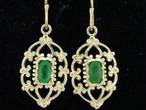 E069-Genuine-9ct-Yellow-Gold-NATURAL-Emerald-Drop-Earrings-Filigree-ornate-Drops